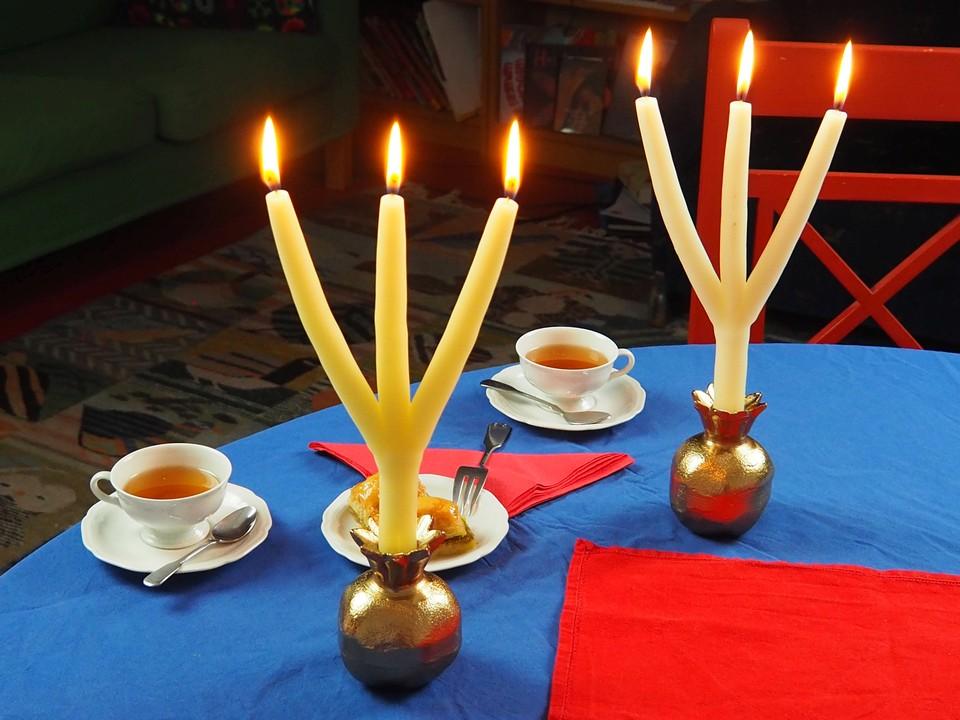 Brauchtumskerzen Ideen Inspiration Deko besondere Kerze mehrarmig